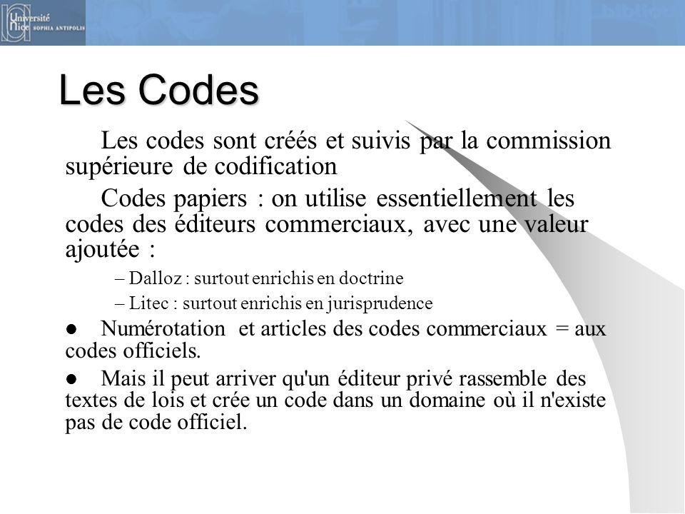 Les Codes Les codes sont créés et suivis par la commission supérieure de codification Codes papiers : on utilise essentiellement les codes des éditeur