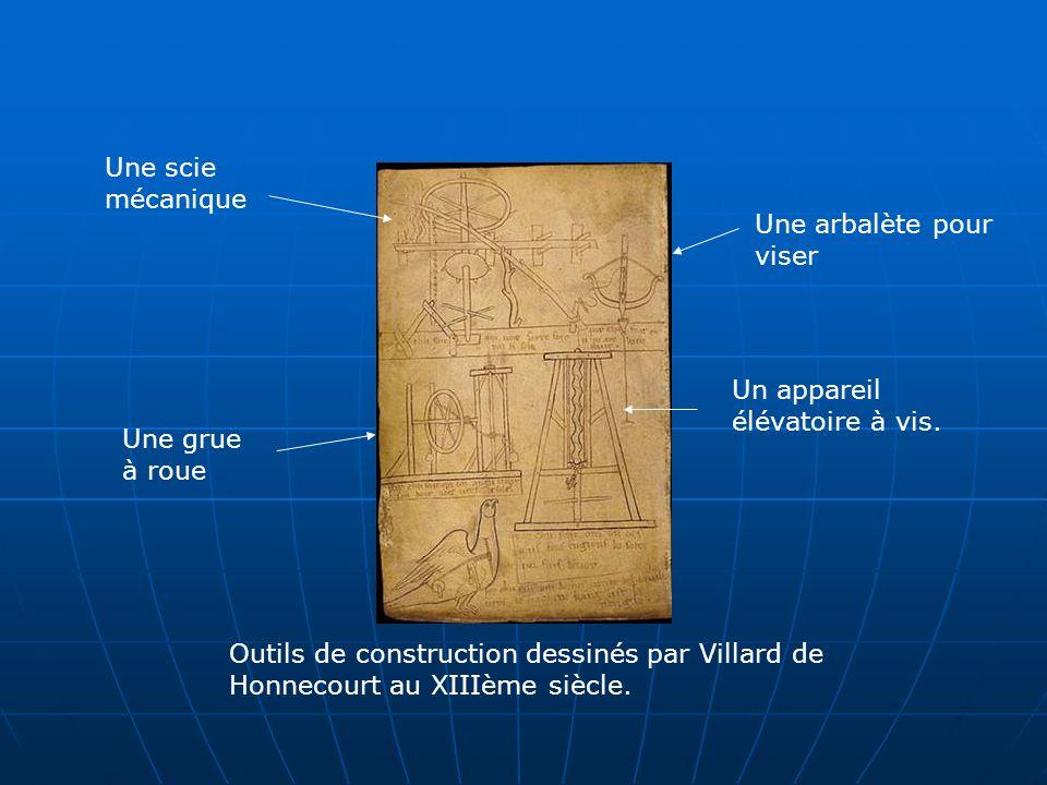 Outils de construction dessinés par Villard de Honnecourt au XIIIème siècle. Une scie mécanique Une grue à roue Un appareil élévatoire à vis. Une arba