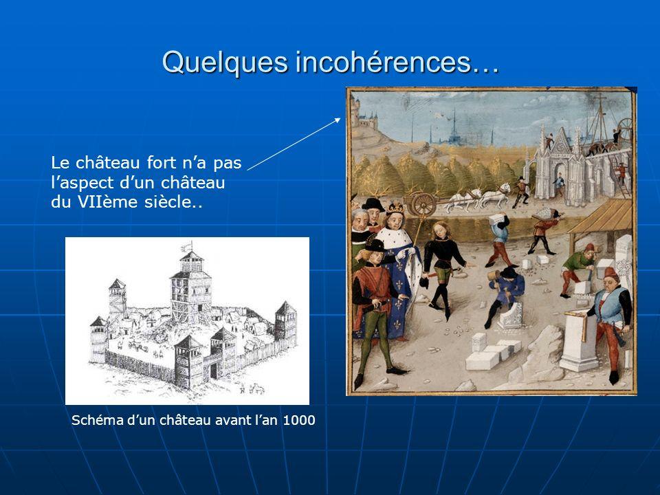 Quelques incohérences… Le château fort na pas laspect dun château du VIIème siècle.. Schéma dun château avant lan 1000