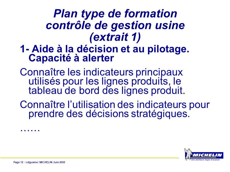 Page 13 / cdgusine / MICHELIN /Juin 2005 Plan type de formation (extrait 2) 3- Application des normes I.F.R.S.