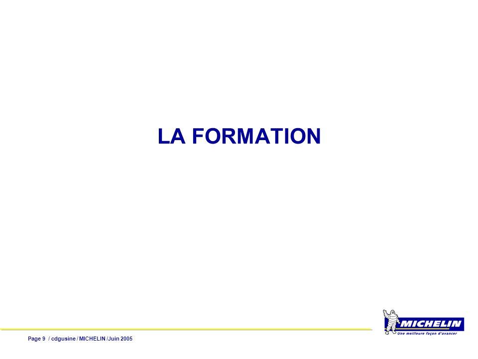 Page 10 / cdgusine / MICHELIN /Juin 2005 Il existe deux éléments : Le plan type de formation Le plan individuel de formation