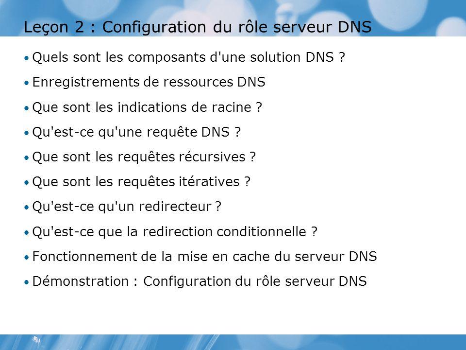 Leçon 2 : Configuration du rôle serveur DNS Quels sont les composants d'une solution DNS ? Enregistrements de ressources DNS Que sont les indications