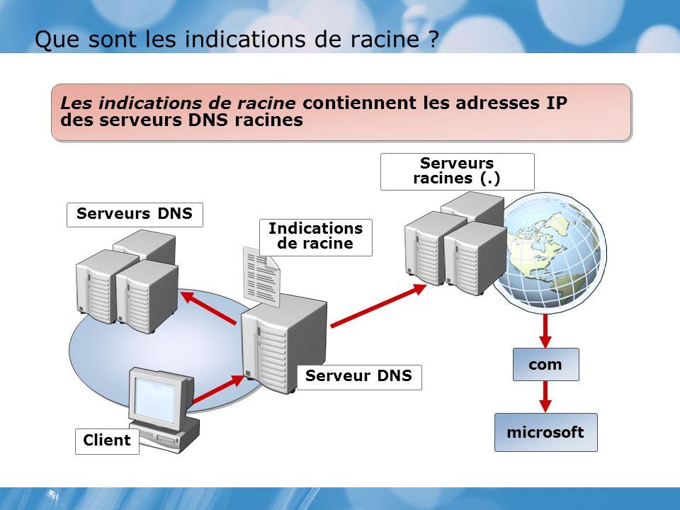 Que sont les indications de racine ? Les indications de racine contiennent les adresses IP des serveurs DNS racines microsoft Serveurs DNS Serveur DNS