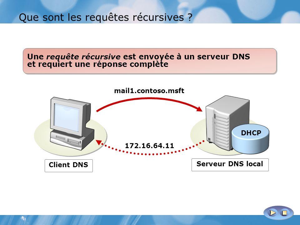 Que sont les requêtes récursives ? Client DNS mail1.contoso.msft 172.16.64.11 Une requête récursive est envoyée à un serveur DNS et requiert une répon