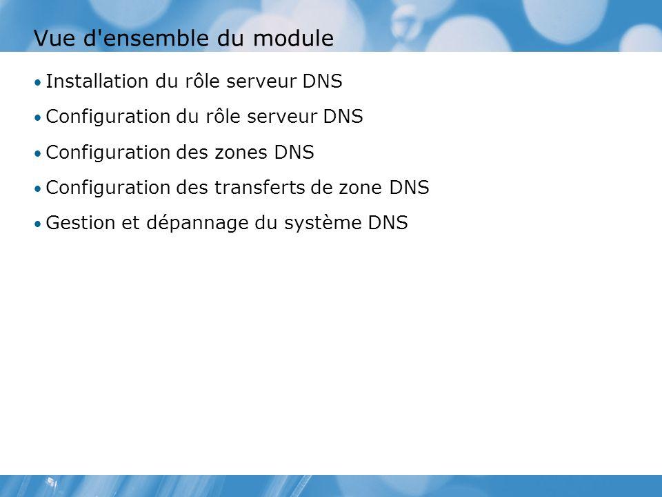 Vue d ensemble du module Installation du rôle serveur DNS Configuration du rôle serveur DNS Configuration des zones DNS Configuration des transferts de zone DNS Gestion et dépannage du système DNS