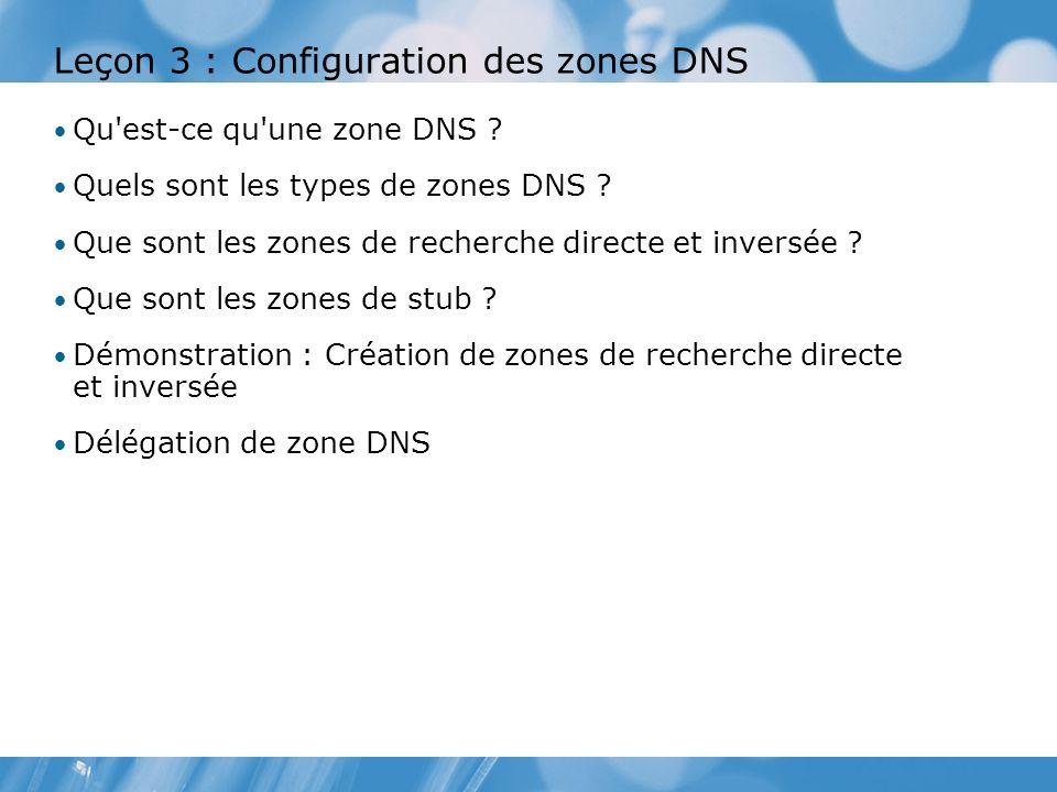 Leçon 3 : Configuration des zones DNS Qu'est-ce qu'une zone DNS ? Quels sont les types de zones DNS ? Que sont les zones de recherche directe et inver