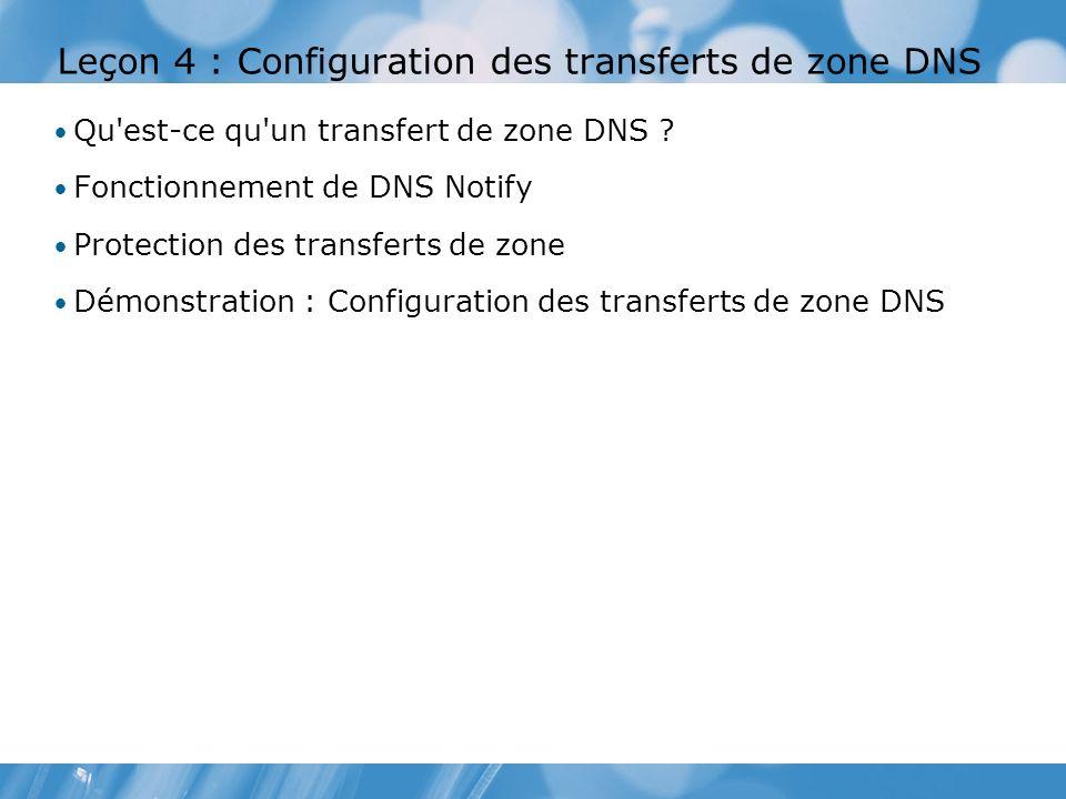 Leçon 4 : Configuration des transferts de zone DNS Qu'est-ce qu'un transfert de zone DNS ? Fonctionnement de DNS Notify Protection des transferts de z
