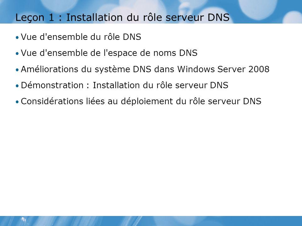 Leçon 1 : Installation du rôle serveur DNS Vue d'ensemble du rôle DNS Vue d'ensemble de l'espace de noms DNS Améliorations du système DNS dans Windows