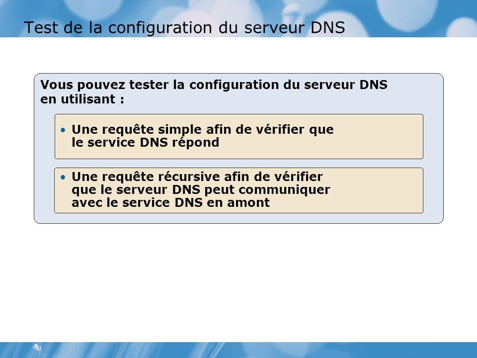 Test de la configuration du serveur DNS Vous pouvez tester la configuration du serveur DNS en utilisant : Une requête simple afin de vérifier que le service DNS répond Une requête récursive afin de vérifier que le serveur DNS peut communiquer avec le service DNS en amont
