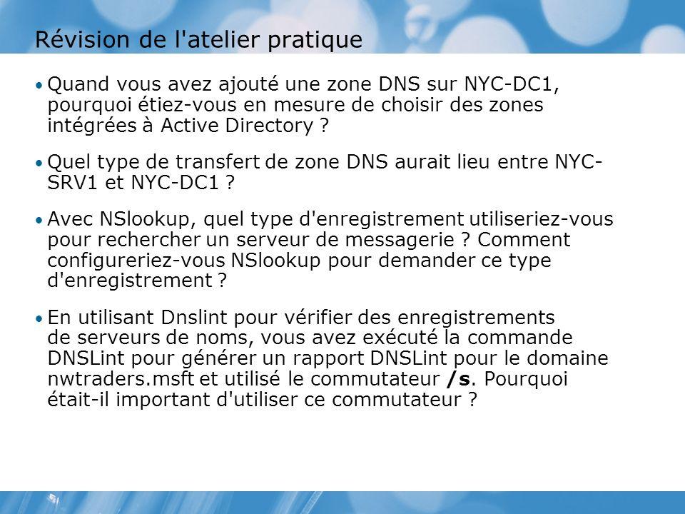 Révision de l'atelier pratique Quand vous avez ajouté une zone DNS sur NYC-DC1, pourquoi étiez-vous en mesure de choisir des zones intégrées à Active