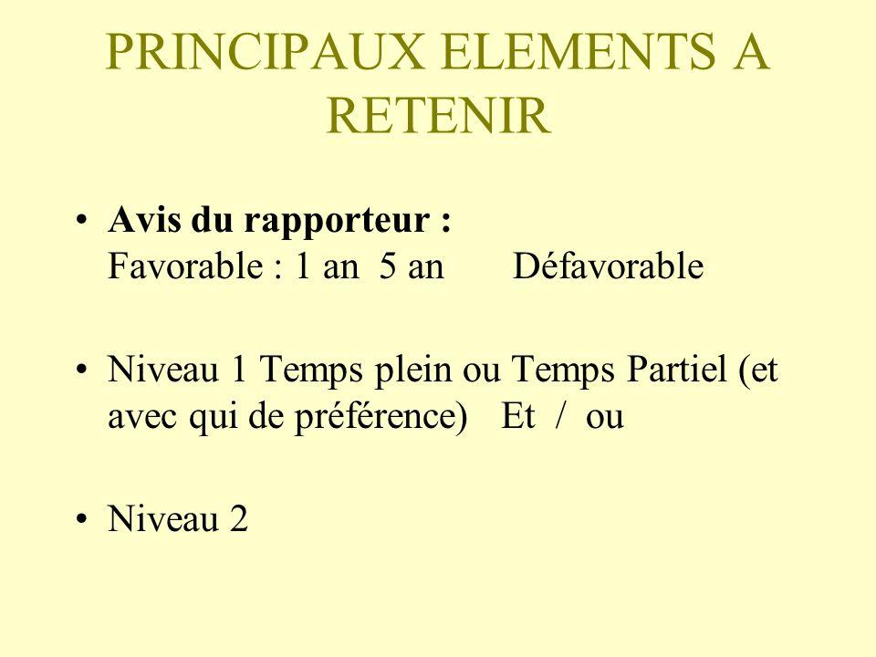 PRINCIPAUX ELEMENTS A RETENIR Avis du rapporteur : Favorable : 1 an 5 anDéfavorable Niveau 1 Temps plein ou Temps Partiel (et avec qui de préférence) Et / ou Niveau 2