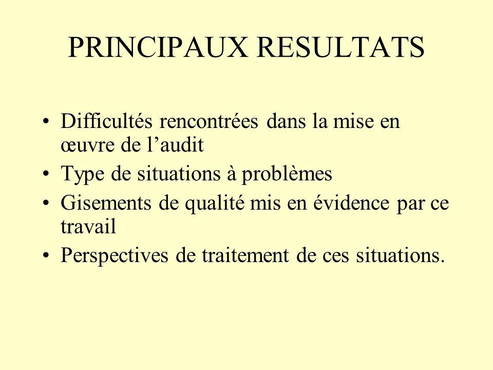 PRINCIPAUX RESULTATS Difficultés rencontrées dans la mise en œuvre de laudit Type de situations à problèmes Gisements de qualité mis en évidence par ce travail Perspectives de traitement de ces situations.