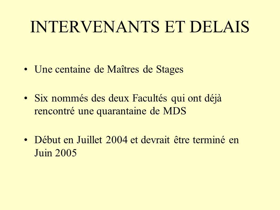 INTERVENANTS ET DELAIS Une centaine de Maîtres de Stages Six nommés des deux Facultés qui ont déjà rencontré une quarantaine de MDS Début en Juillet 2004 et devrait être terminé en Juin 2005