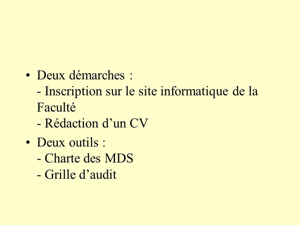 Deux démarches : - Inscription sur le site informatique de la Faculté - Rédaction dun CV Deux outils : - Charte des MDS - Grille daudit