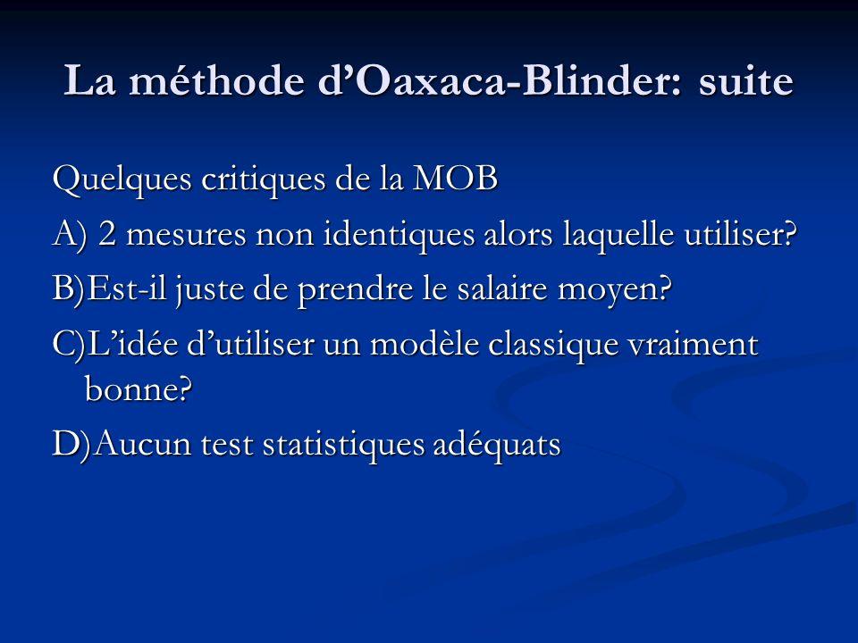 La méthode dOaxaca-Blinder: suite Quelques critiques de la MOB A) 2 mesures non identiques alors laquelle utiliser? B)Est-il juste de prendre le salai
