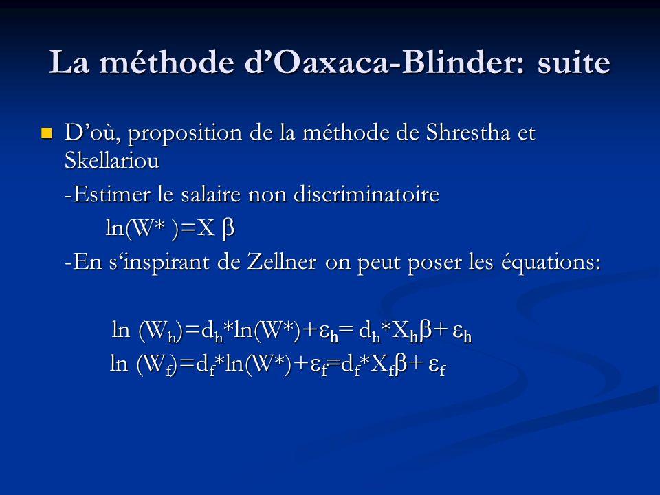La méthode dOaxaca-Blinder: suite Doù, proposition de la méthode de Shrestha et Skellariou Doù, proposition de la méthode de Shrestha et Skellariou -E
