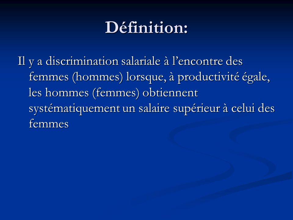 Définition: Il y a discrimination salariale à lencontre des femmes (hommes) lorsque, à productivité égale, les hommes (femmes) obtiennent systématique