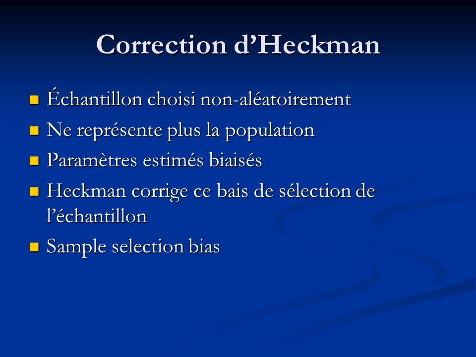 Correction dHeckman Échantillon choisi non-aléatoirement Échantillon choisi non-aléatoirement Ne représente plus la population Ne représente plus la p