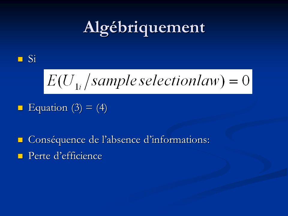 Si Si Equation (3) = (4) Equation (3) = (4) Conséquence de labsence dinformations: Conséquence de labsence dinformations: Perte defficience Perte deff