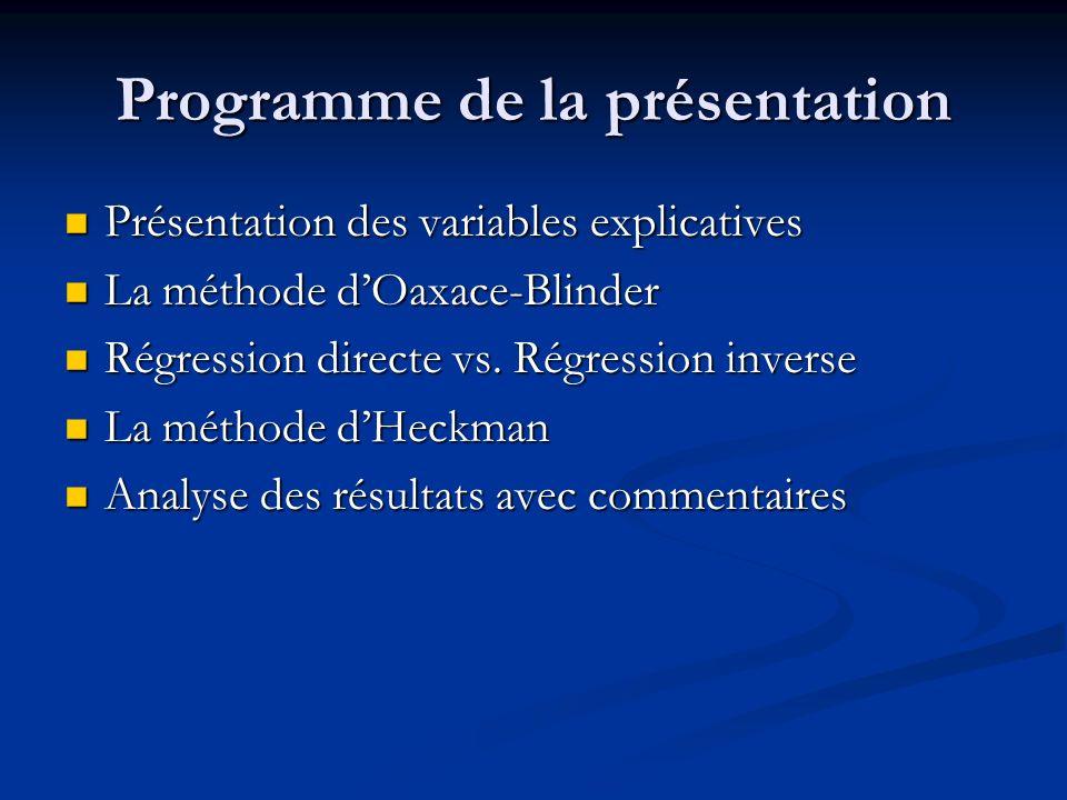 Programme de la présentation Présentation des variables explicatives Présentation des variables explicatives La méthode dOaxace-Blinder La méthode dOa