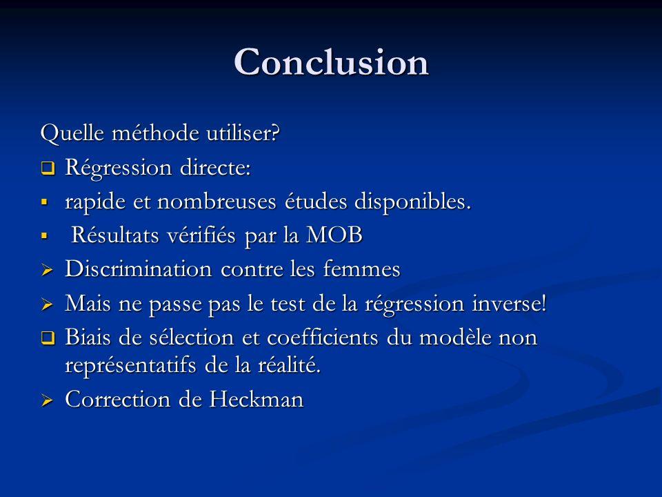 Conclusion Quelle méthode utiliser? Régression directe: Régression directe: rapide et nombreuses études disponibles. rapide et nombreuses études dispo