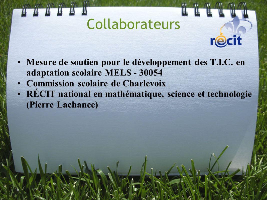 Collaborateurs Mesure de soutien pour le développement des T.I.C. en adaptation scolaire MELS - 30054 Commission scolaire de Charlevoix RÉCIT national
