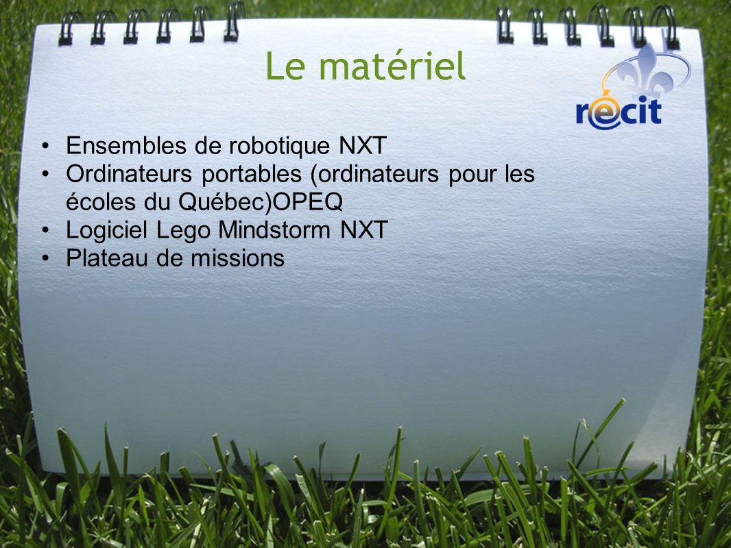 Le matériel Ensembles de robotique NXT Ordinateurs portables (ordinateurs pour les écoles du Québec)OPEQ Logiciel Lego Mindstorm NXT Plateau de missio
