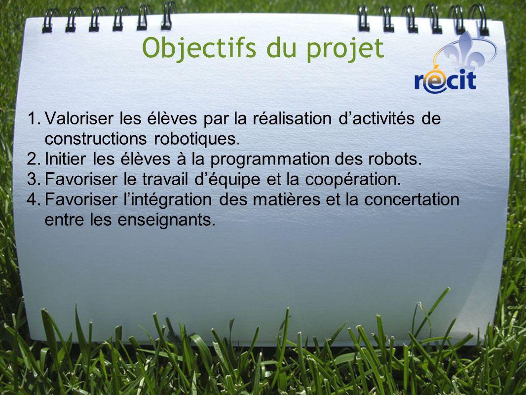 Objectifs du projet 1.Valoriser les élèves par la réalisation dactivités de constructions robotiques. 2.Initier les élèves à la programmation des robo