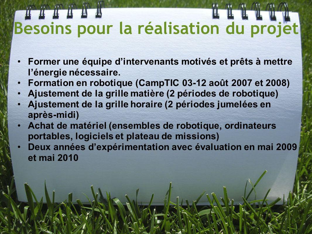 Besoins pour la réalisation du projet Former une équipe dintervenants motivés et prêts à mettre lénergie nécessaire. Formation en robotique (CampTIC 0