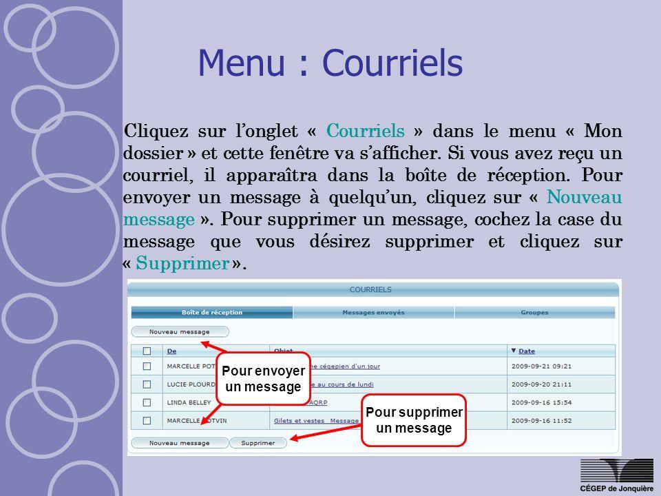 Menu : Courriels Cliquez sur longlet « Courriels » dans le menu « Mon dossier » et cette fenêtre va safficher. Si vous avez reçu un courriel, il appar