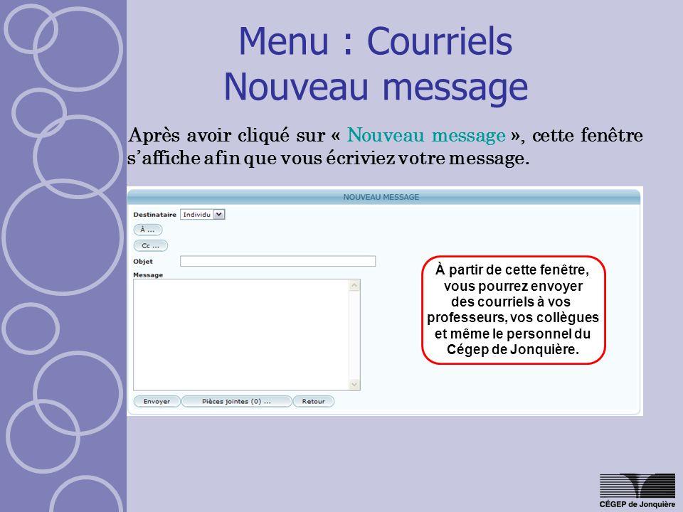Menu : Courriels Nouveau message Après avoir cliqué sur « Nouveau message », cette fenêtre saffiche afin que vous écriviez votre message. À partir de