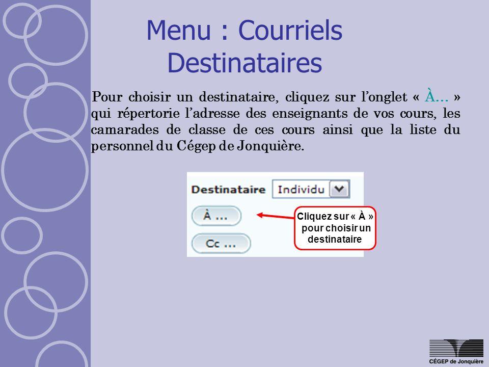 Menu : Courriels Destinataires Pour choisir un destinataire, cliquez sur longlet « À… » qui répertorie ladresse des enseignants de vos cours, les cama