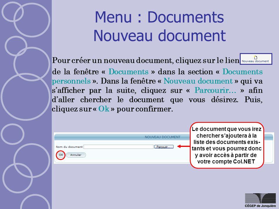 Pour créer un nouveau document, cliquez sur le lien de la fenêtre « Documents » dans la section « Documents personnels ». Dans la fenêtre « Nouveau do