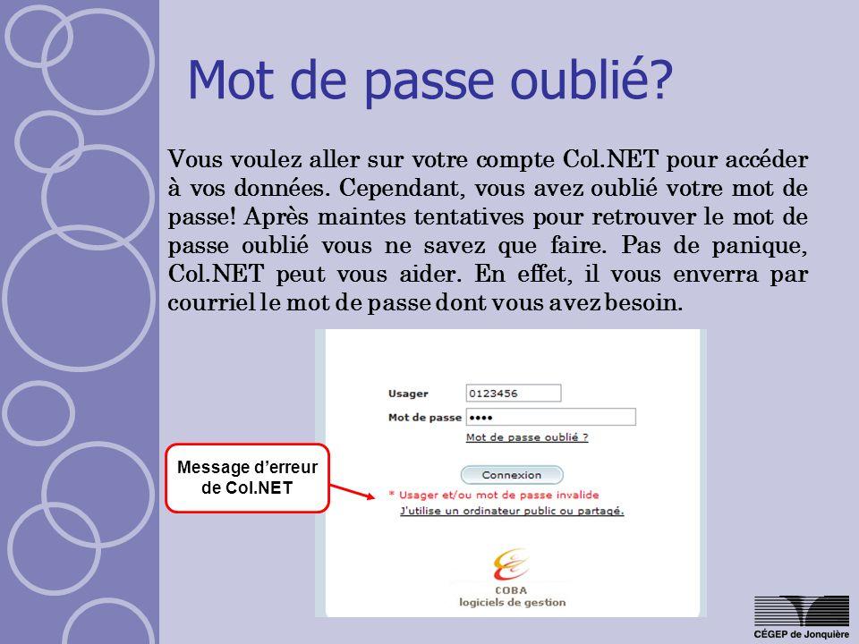 Mot de passe oublié.Vous voulez aller sur votre compte Col.NET pour accéder à vos données.