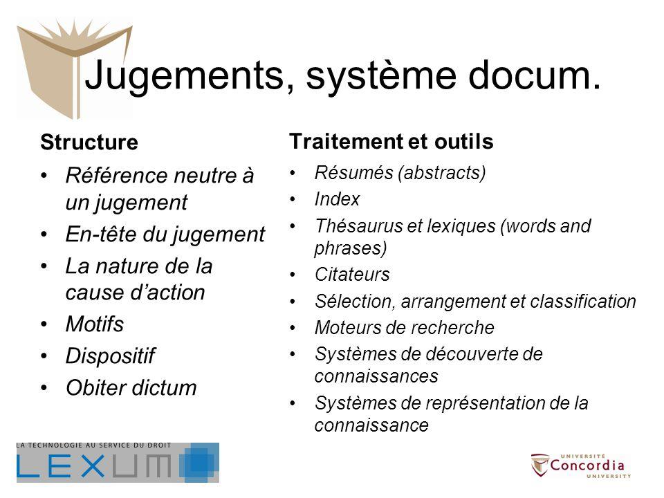 Jugements, système docum.