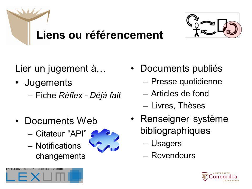Liens ou référencement Lier un jugement à… Jugements –Fiche Réflex - Déjà fait Documents Web –Citateur API –Notifications changements Documents publié