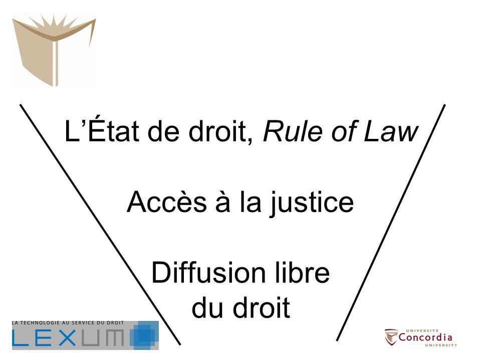 LÉtat de droit, Rule of Law Accès à la justice Diffusion libre du droit