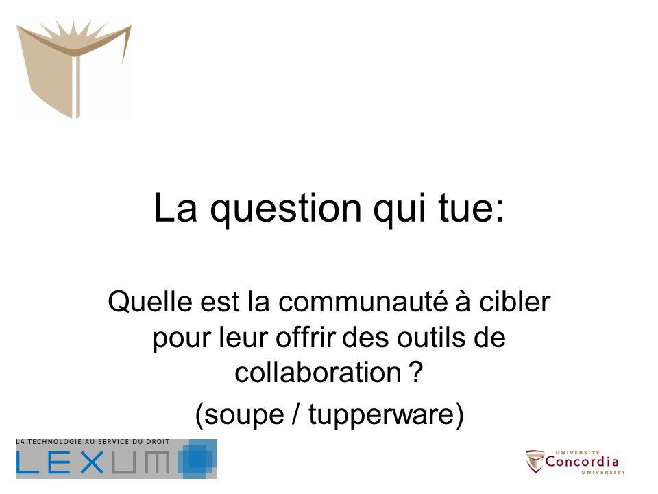 Quelle est la communauté à cibler pour leur offrir des outils de collaboration ? (soupe / tupperware)