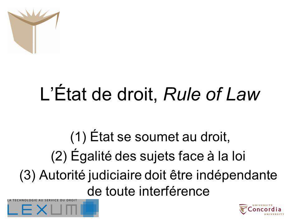 LÉtat de droit, Rule of Law (1) État se soumet au droit, (2) Égalité des sujets face à la loi (3) Autorité judiciaire doit être indépendante de toute