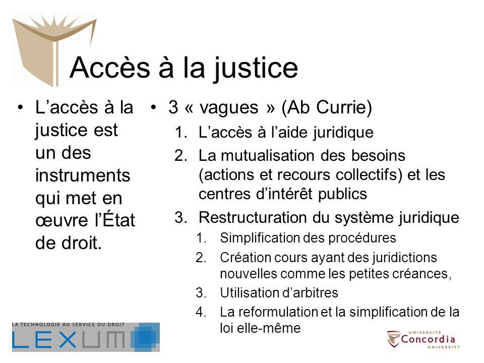 Accès à la justice Laccès à la justice est un des instruments qui met en œuvre lÉtat de droit. 3 « vagues » (Ab Currie) 1.Laccès à laide juridique 2.L