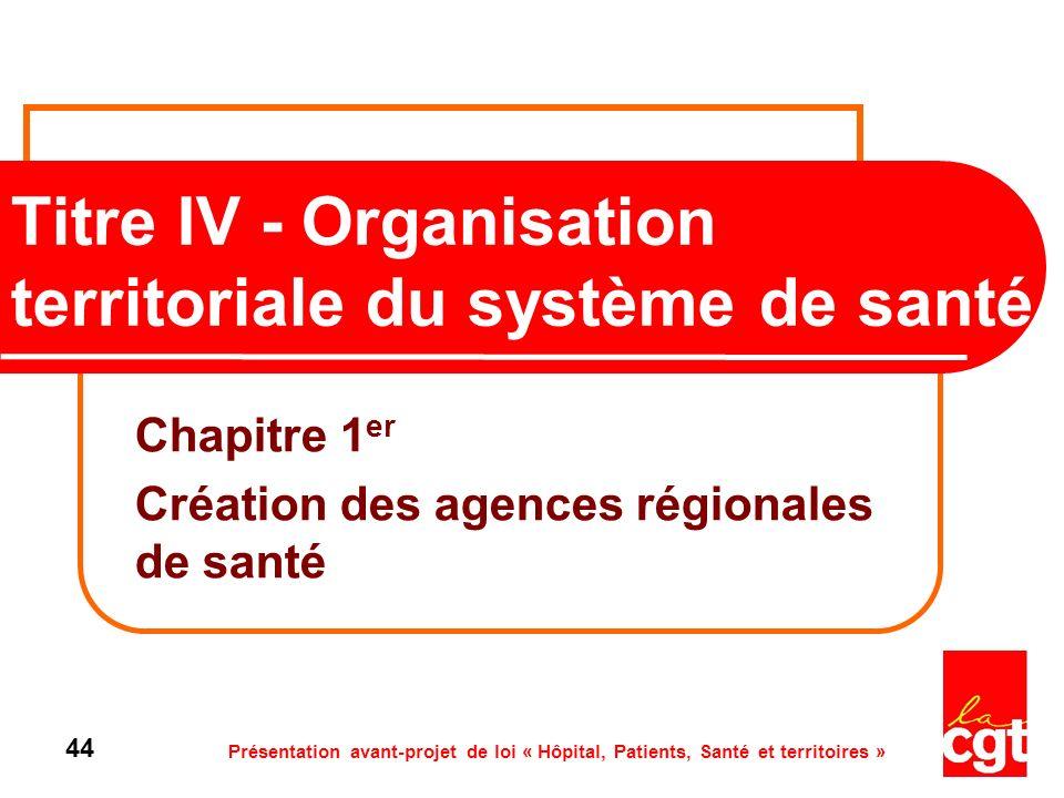 Présentation avant-projet de loi « Hôpital, Patients, Santé et territoires » 44 Titre IV - Organisation territoriale du système de santé Chapitre 1 er