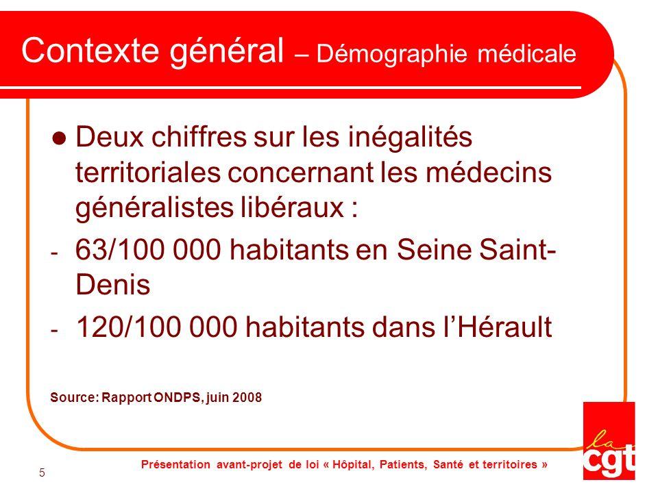 Présentation avant-projet de loi « Hôpital, Patients, Santé et territoires » 5 5 Contexte général – Démographie médicale Deux chiffres sur les inégali