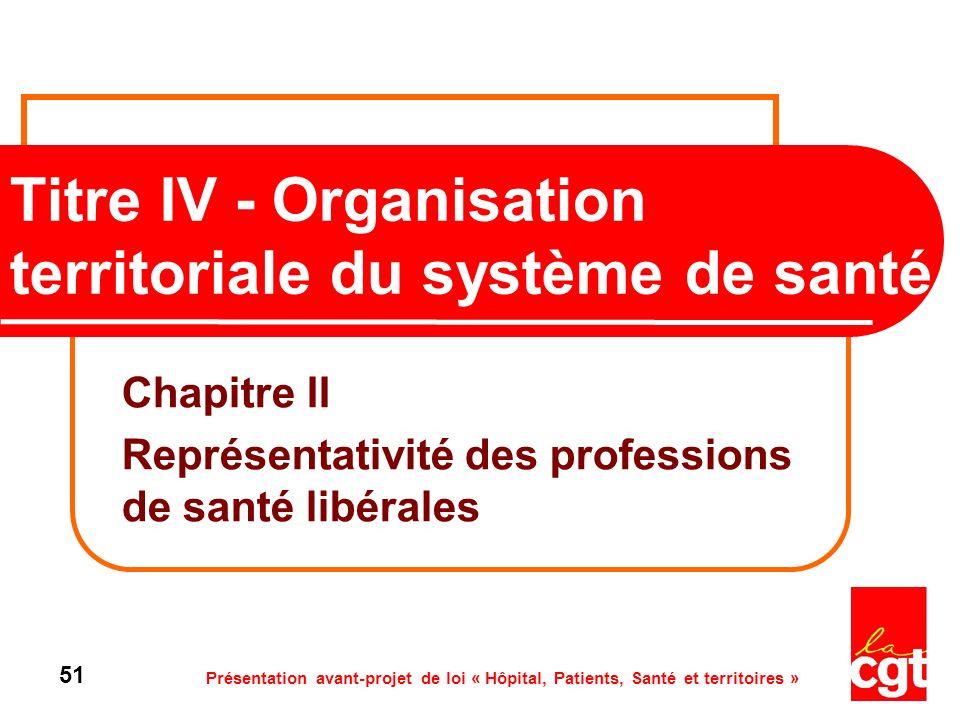 Présentation avant-projet de loi « Hôpital, Patients, Santé et territoires » 51 Titre IV - Organisation territoriale du système de santé Chapitre II R