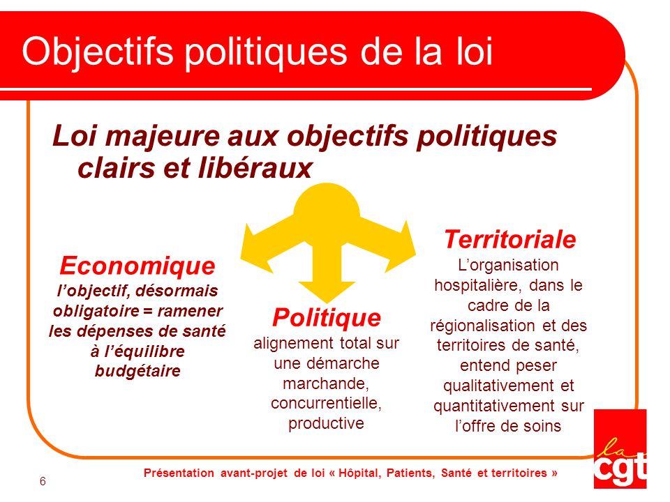 Présentation avant-projet de loi « Hôpital, Patients, Santé et territoires » 6 6 Objectifs politiques de la loi Loi majeure aux objectifs politiques c