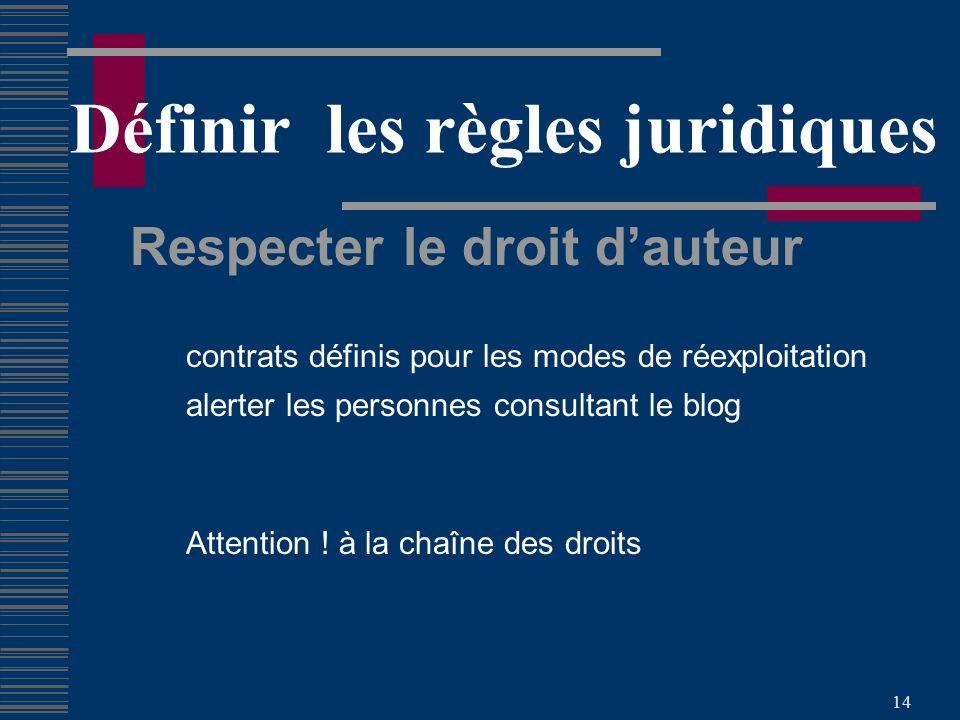 14 Définir les règles juridiques Respecter le droit dauteur contrats définis pour les modes de réexploitation alerter les personnes consultant le blog Attention .