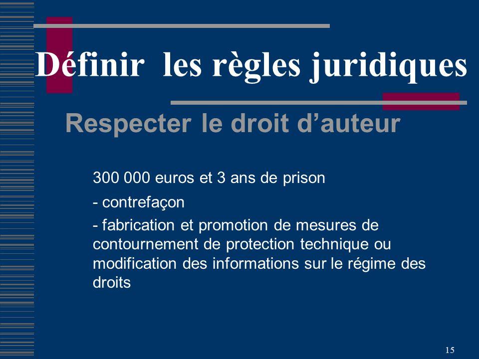 15 Définir les règles juridiques Respecter le droit dauteur 300 000 euros et 3 ans de prison - contrefaçon - fabrication et promotion de mesures de contournement de protection technique ou modification des informations sur le régime des droits