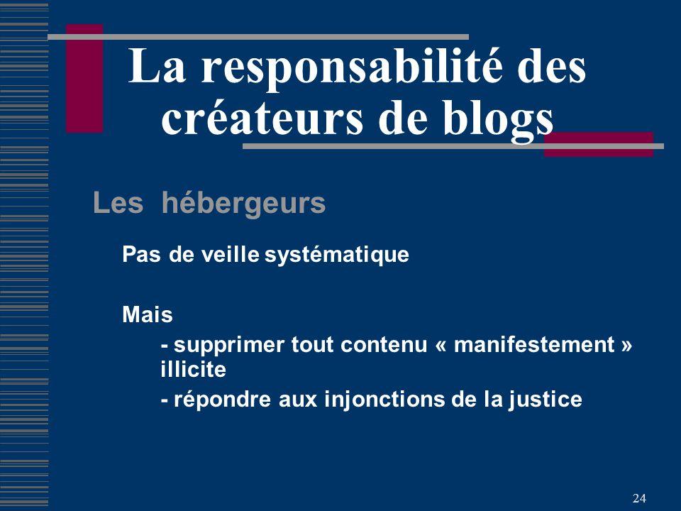 24 La responsabilité des créateurs de blogs Les hébergeurs Pas de veille systématique Mais - supprimer tout contenu « manifestement » illicite - répondre aux injonctions de la justice