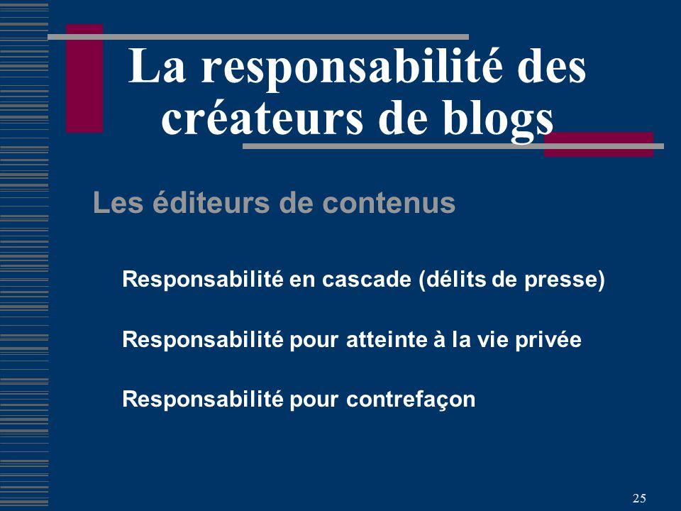25 La responsabilité des créateurs de blogs Les éditeurs de contenus Responsabilité en cascade (délits de presse) Responsabilité pour atteinte à la vie privée Responsabilité pour contrefaçon
