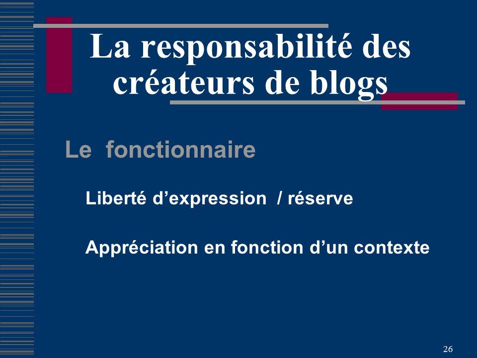 26 La responsabilité des créateurs de blogs Le fonctionnaire Liberté dexpression / réserve Appréciation en fonction dun contexte