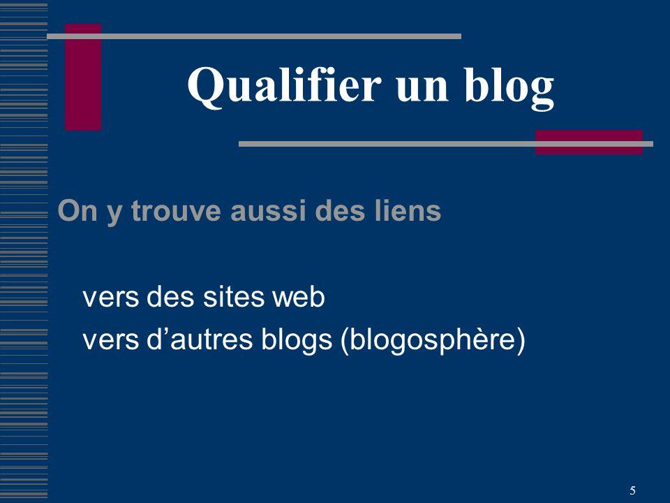 5 Qualifier un blog On y trouve aussi des liens vers des sites web vers dautres blogs (blogosphère)
